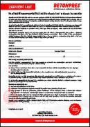 Záruční list na střešní paropropustnou fólii B Classic 140 / B Classic 140 SK DUO