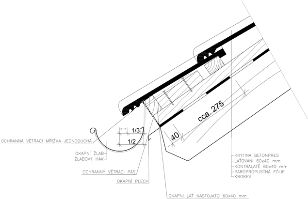 Detail ukončení u okapu